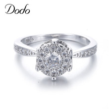 White gold Color filled rings for women Crystal jewelry wedding engagement bague femme accessories supernatural anel
