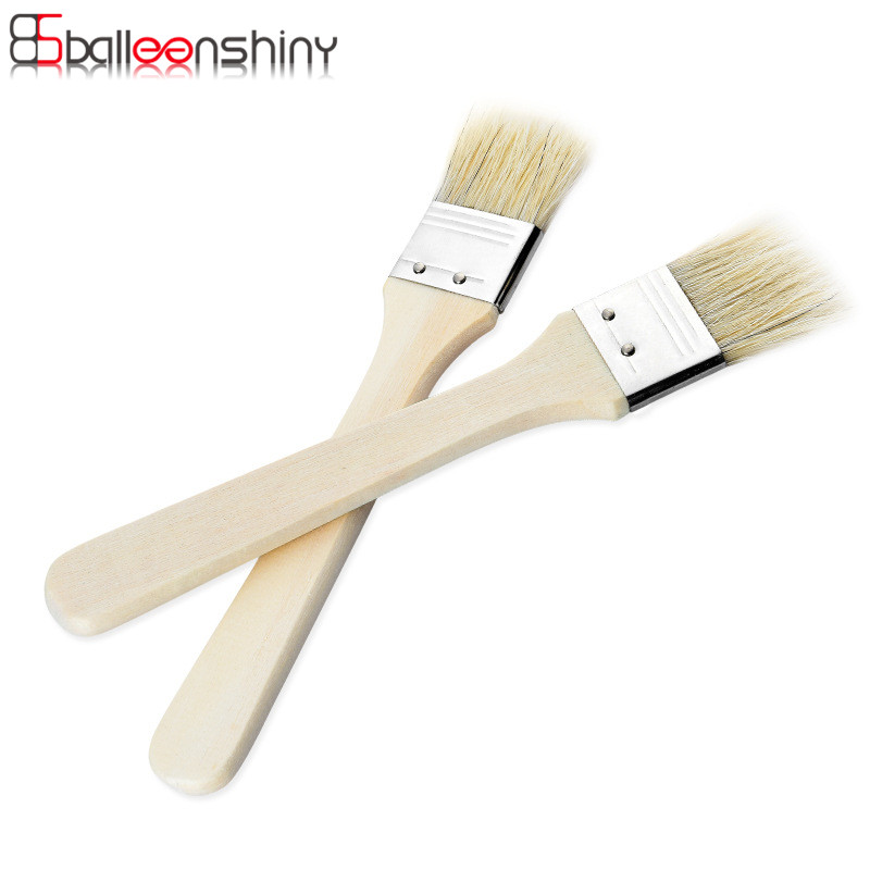 BalleenShiny 2 pcs/set Bristle Basting Brushes With Wooden Handle Oil Barbecue Sauce Brush Grill accessories