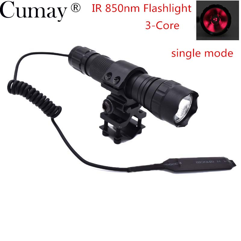 1 Set New Sales IR 850nm Led Torch 5w 3-Core (Fill Light for Night Vision Device) Infrared LED Flashlight For Hunting IR Lamp