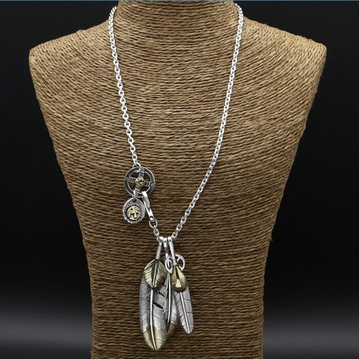55.9g 100% Real 925 Sterling Silver Long Necklace Men Women Goden Feather Pendants In 4mm Chain Vintage Indian Style Mens Bijoux 56g solid 925 sterling silver long necklace men vintage indian style bull