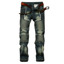 Fashion Men Straight Biker Jeans Classic Denim Trousers For Men High Quality Brand Fried Patchwork Slim Vintage Retro Jeans