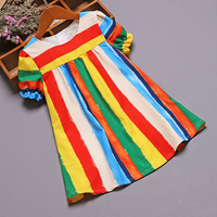 Summer Bohemian family matching outfits mum kids girl dress rainbow striped baby clothing doll skirt mother and daughter dresses