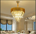 Бесплатная доставка Золотой подвесной светильник Хрустальное Освещение Современная Гостиная Kroonluchter Lamparas De Cristal LED AC подвесное освещение