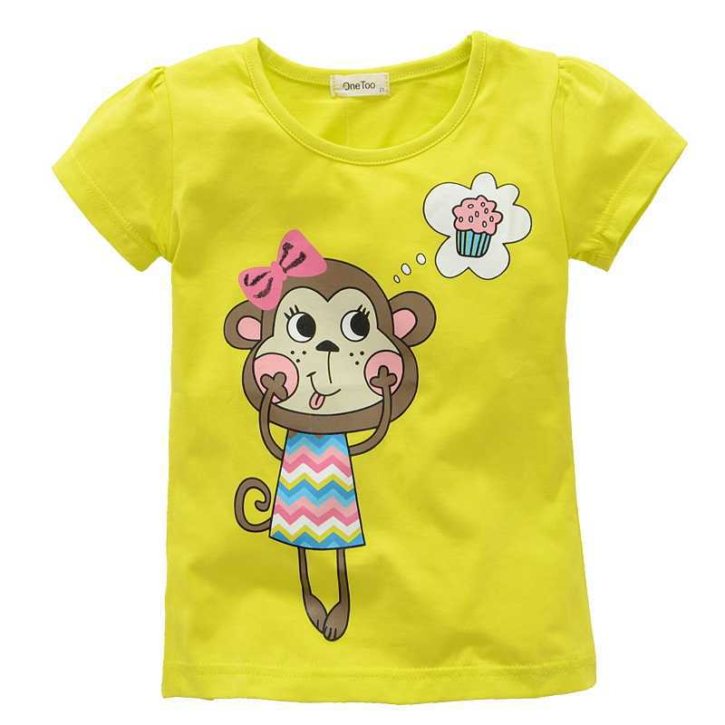Girls T-shirts girl brand t-shirts Little big girls Cartoon shortn summer Shirts Cotton sleeve Tees kids baby T-shirts Childre