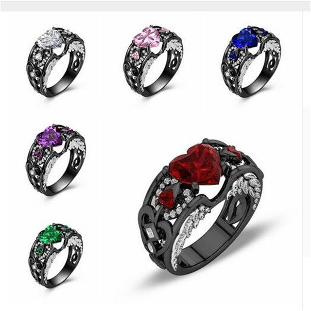 Fashion Angel Wings Ring Black Gold Filled 925 silver Heart Shaped AAAAA cz Party Wedding Band Rings for women men Jewelry Gift