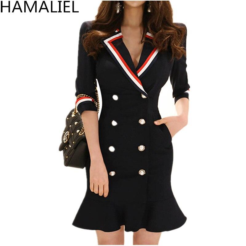 HAMALIEL Women Blazers Mermaid Office OL Dress 2018 Summer Formal Ruffles Double-Breasted Patchwork Bodycon Work Sheath Dress