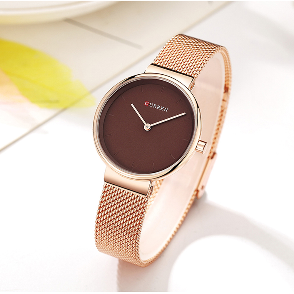 Ladies Dress Mesh Bracelet Watches With Stainless Steel CURREN Simple Fashion Quartz Wristwatch Women Clock Female Montre Femme