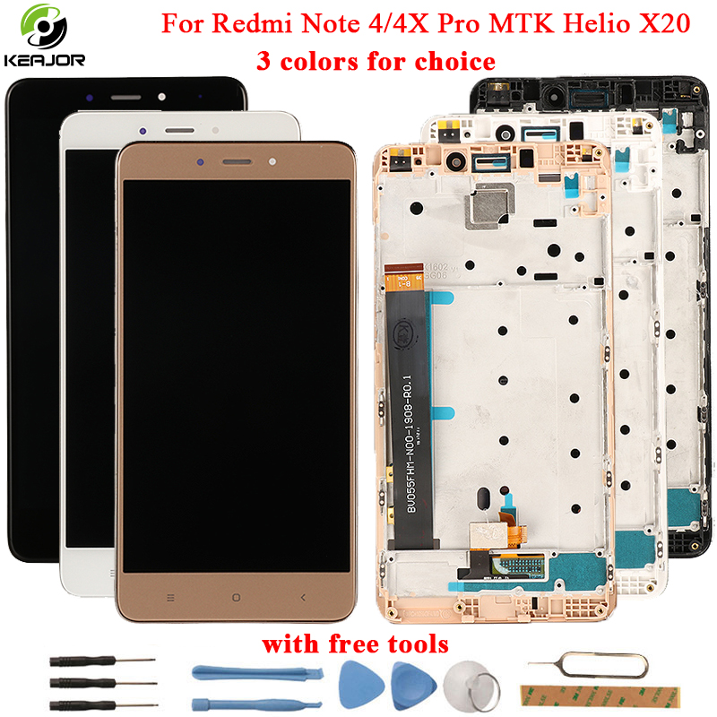 for Xiaomi Redmi Note 4 LCD Display+Touch Screen+Frame Glass Panel Digitizer Accessories For Redmi Note 4X Pro MTK Helio X20
