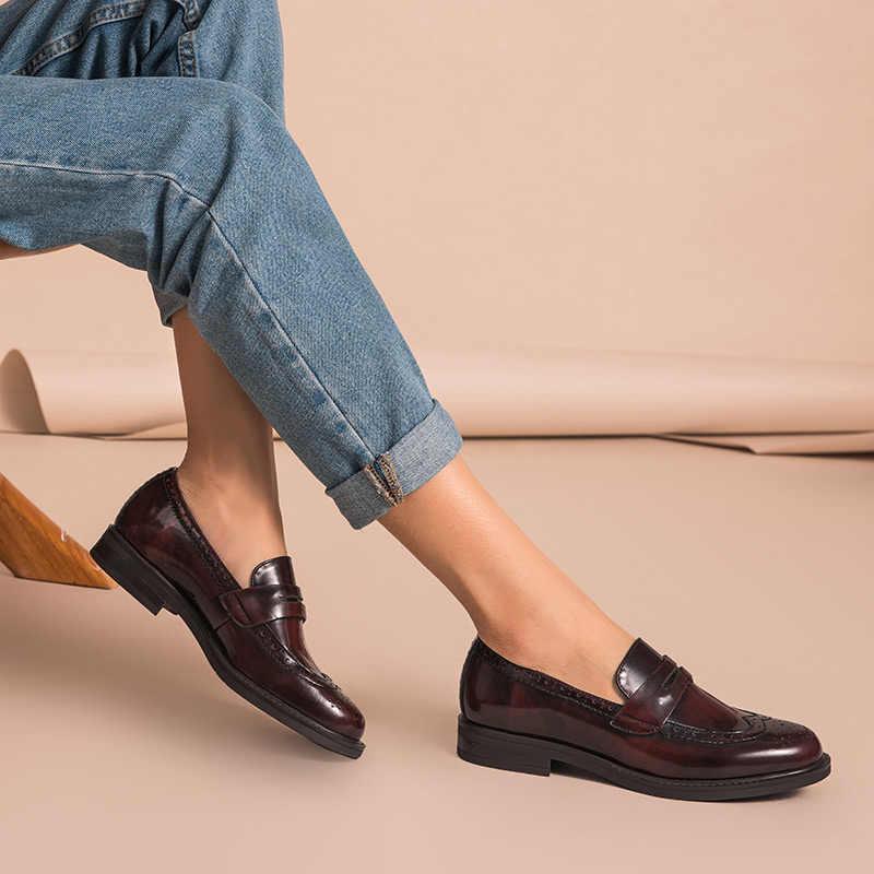 BeauToday Penny mocasines mujer cuero genuino de vaca punta redonda Wingtip zapatos vidriados charol Brogue Flats hecho a mano 27039