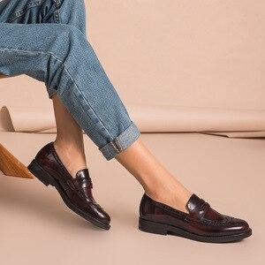 Image 3 - Beautodayペニーローファー女性本物の牛革ラウンドトウ翼端施釉靴パテントレザーブローグフラット手作り27039