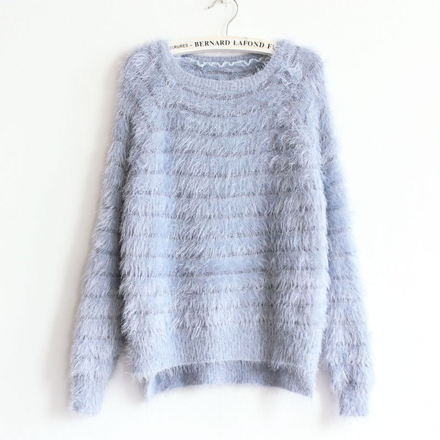 ad30559aadefa7 Striped Knit Women Clothing Sweater Mohairl Asymmetrical Casual O Neck  Pullover Knitted Sweater Long Sleeve Female Sweater S42