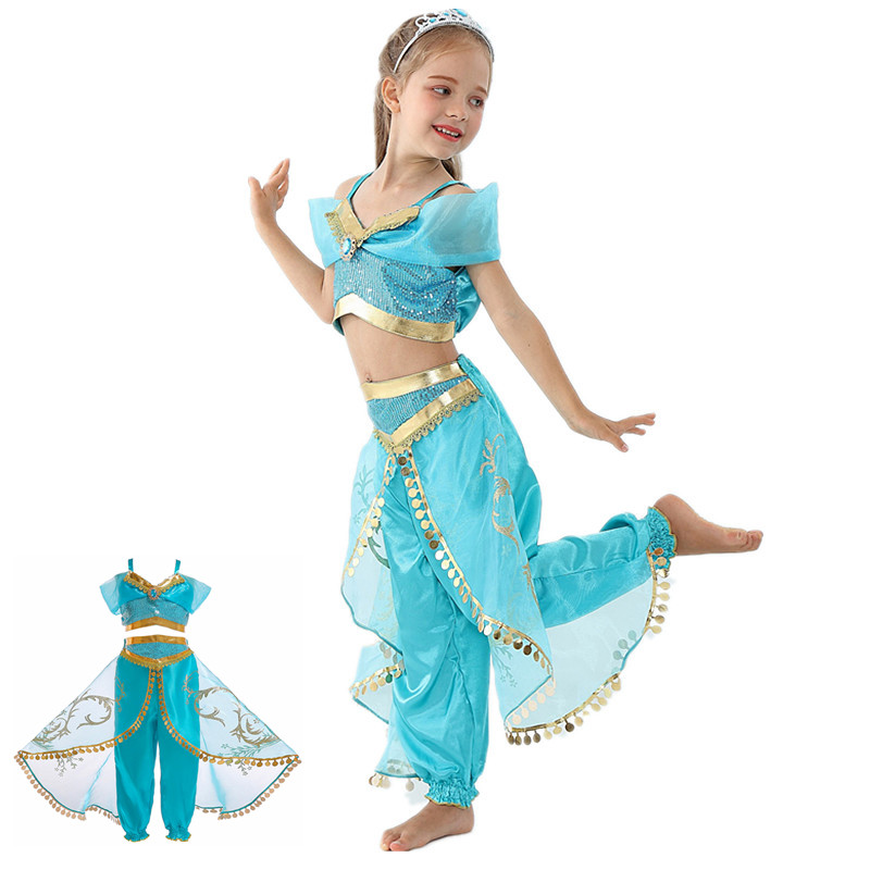 Halloween Latest Girls Jasmine Princess Dress Dance Performance Costume, Aladdin Cosplay Combination Skirt