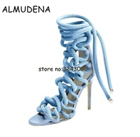 Newest Designer Rope Braided Lace up High Heel Sandal Sexy Open toe Cut out Gladiator Strappy Sandal Boots Women Dress Shoes