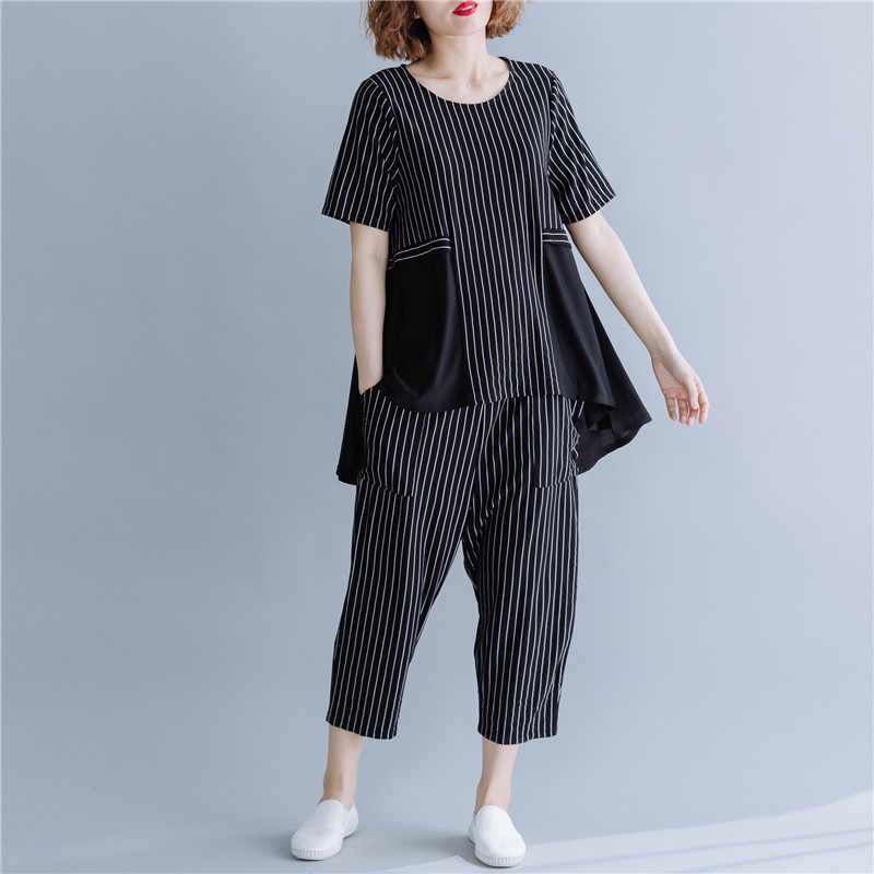 Johnature 2019 Summer Fashion Casual Striped Two Pieces Sets New Patchwork Chiffon Pullover Top Elastic Waist Pant Women Set