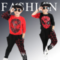 2016 spring autumn kids boy clothing set baby boy spider cartoon red black o-neck long sleeve hoodies and pants children clothes