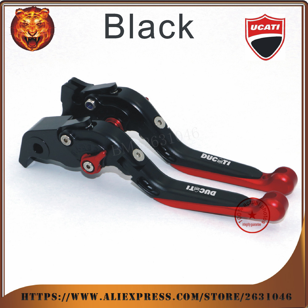 ФОТО  For DUCATI HYPERMOTARD 821 SP 2013-2016 New Style fashion Red Black Motorcycle Adjustable Folding Extendable Brake Clutch Leve