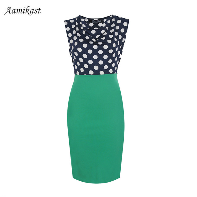 Polka Dot Sleeveless Knee-length Pencil Dress