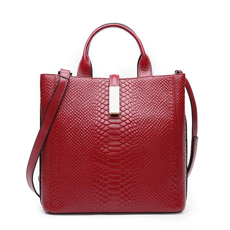 2019 ใหม่ผู้หญิงแฟชั่น Totes Femail Serpentine Cowhide หนังแท้กระเป๋าถือ Lady Shoulder Luxury กระเป๋าถือ Crossbody กระเป๋า-ใน กระเป๋าหูหิ้วด้านบน จาก สัมภาระและกระเป๋า บน   1