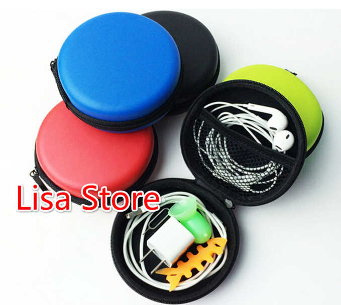 Gratis Ems DHL 100 Buah Ritsleting Bulat Penyimpanan Tas Membawa Hard Tahan Case untuk Earphone Headphone Kabel Data Speaker Mini Sd tas Kartu