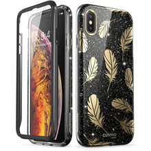 For iPhone Xs Max Case i Blason Cosmo Series Full Body Shinning Bling Glitter Feather Bumper Case with Built in Screen Protector