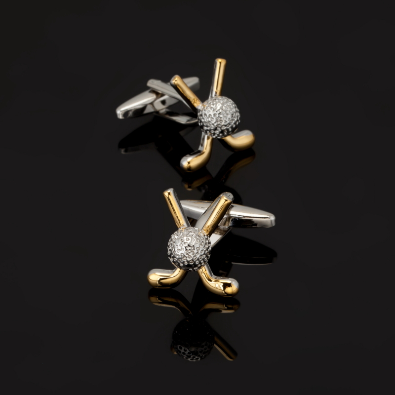 XK540 Mens shirts Cufflinks Golden Golf Cufflinks senior process 3 double sale free shipping