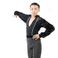 New styles boys latin dance costumes flowers long sleeves latin dance shirt for boys latin dance shirts S-4XL
