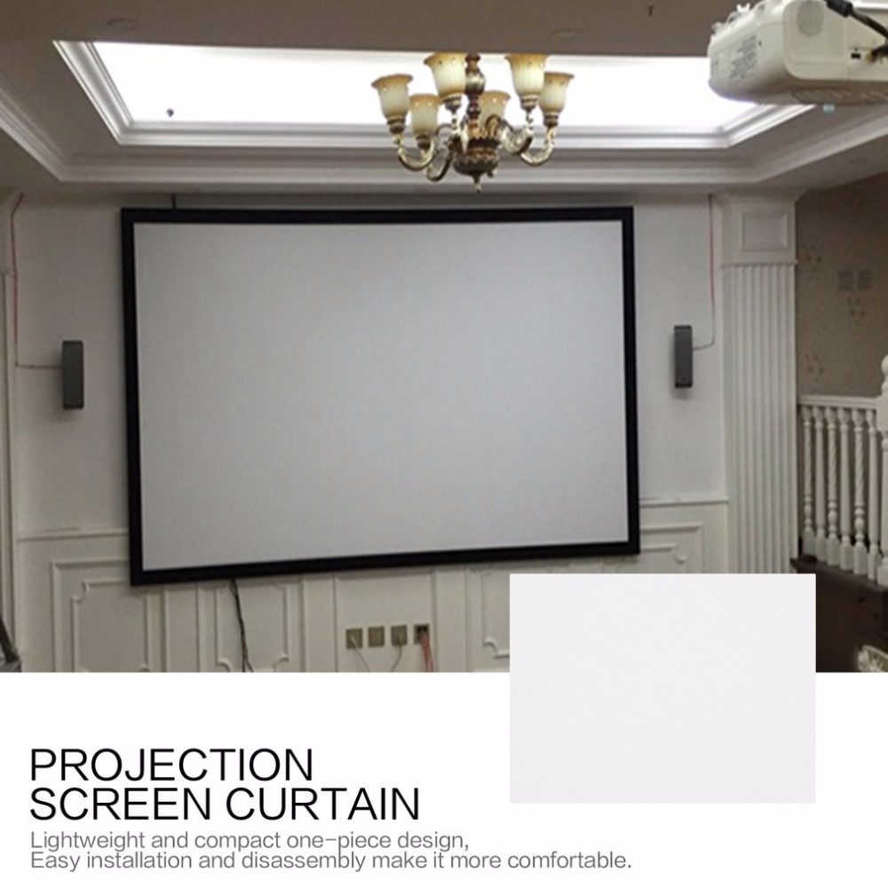 4:3 Projection Screen Curtain 40/50/60/72/84/92/100/106 Inch Non Woven Fabric White Soft Portable for KTV Ba Conference Room|Projection Screens| |  - title=