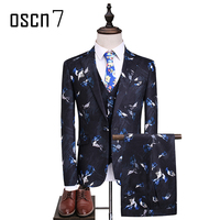 OSCN7 Printed Fashion Suit Men 2017 New Party Leisure Terno Masculino Plus Size Suits Slim Fit Casual Wedding Suits for Men 5XL