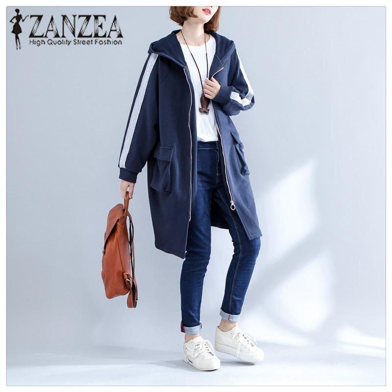 ZANZEA Womens Stripe Long Sleeve Coat Pockets Zipper Hooded Baseball Jacket Female Winter Hoodies Sweatshirts Outwear 2018 NEW
