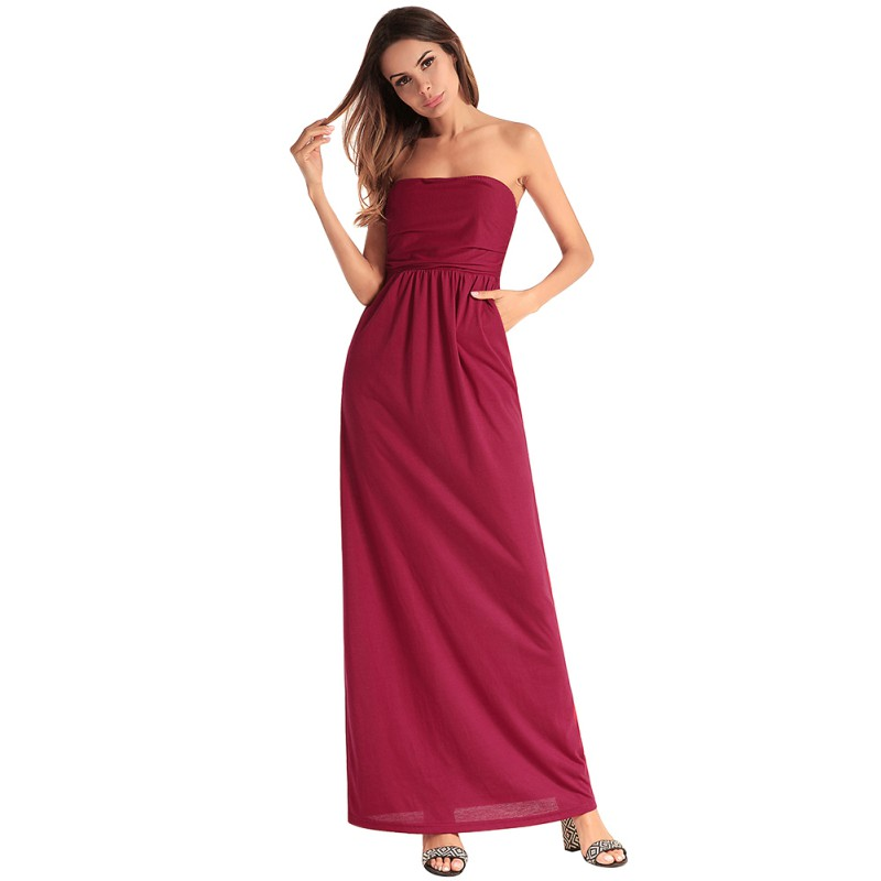 New 2018 Fashion Women Bodycon Dress Sexy Off Shoulder Strapless Dresses Evening Party Maxi Long Dress With Pockets Vestidos W4