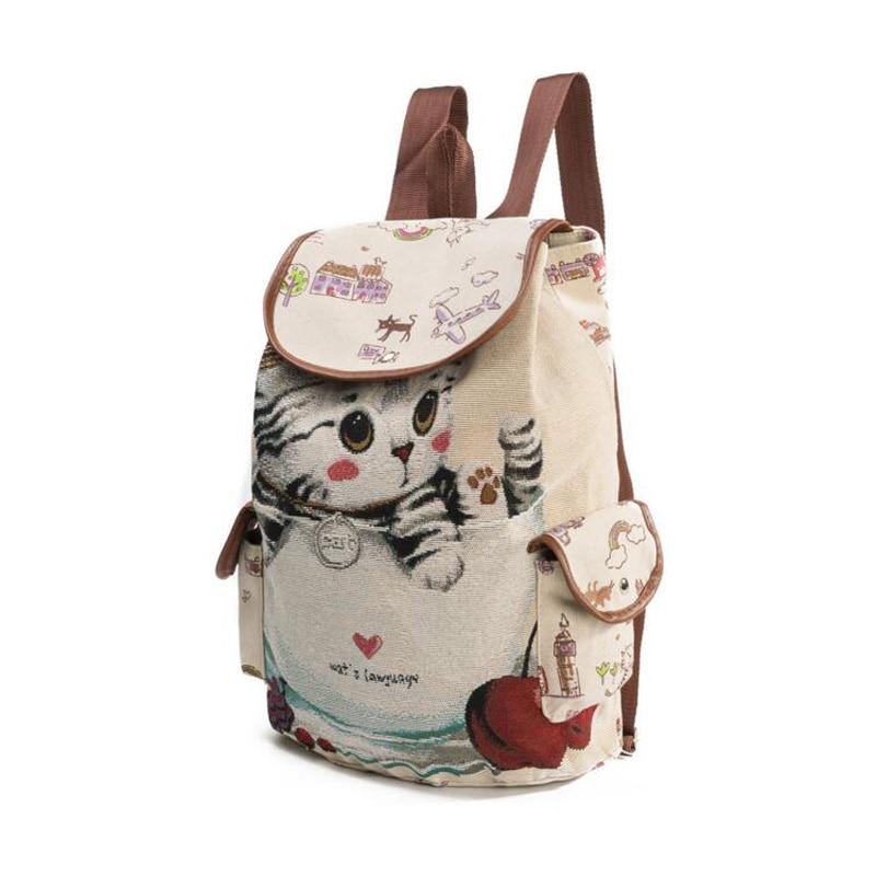 50pcs/lot Cute Cat Backpack Women Canvas Backpack Drawstring Printing Backpacks For Teenage Girls Large Capacity School Bag