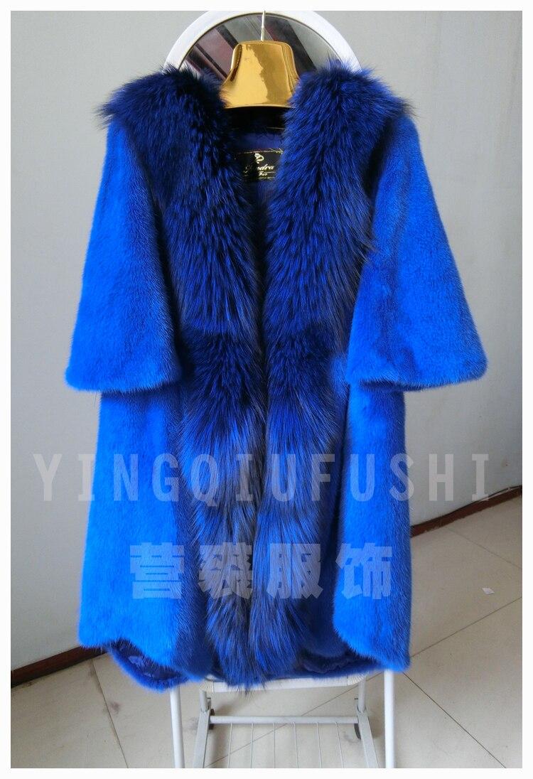 2016 casaco de pele de vison grande gola de pele plus size outerwear pele de médio-longo marta casaco de vison fêmea