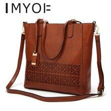 IMYOK, Европейская и американская роскошная женская сумка, большая вместительность, модные элегантные сумки, искусственная кожа, на одно плечо, Наклонная Сумка, дизайнерская