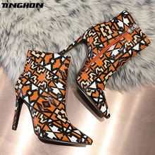 TINGHON New Winter Women Ankle Boots Patchwork geometry High Heels Shoes Woman Pointed Toe Sexy fashion boots 35-42