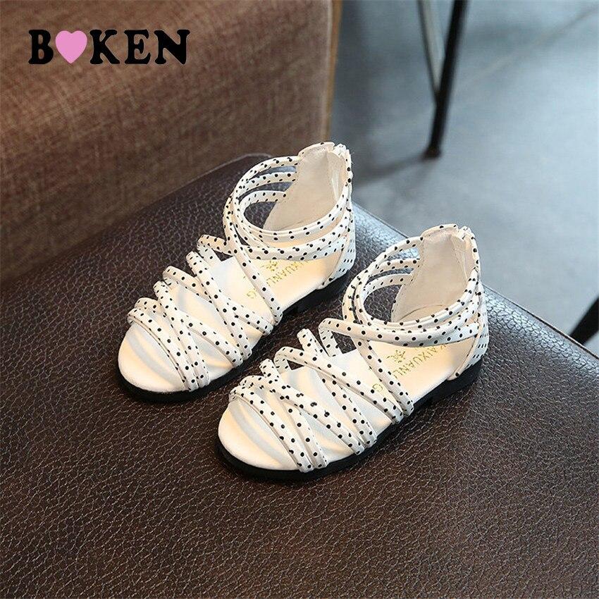 a5b100add1fd Boken летние пляжные сандалии для девочек обувь для детей модные детские  сандалии для девочек Повседневная кожаная обувь