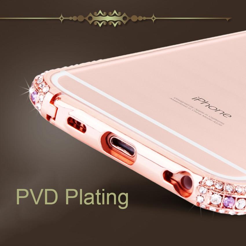 Slim Zinc Alloy Metal Color Diamond Bumper Coque Case για Apple - Ανταλλακτικά και αξεσουάρ κινητών τηλεφώνων - Φωτογραφία 3