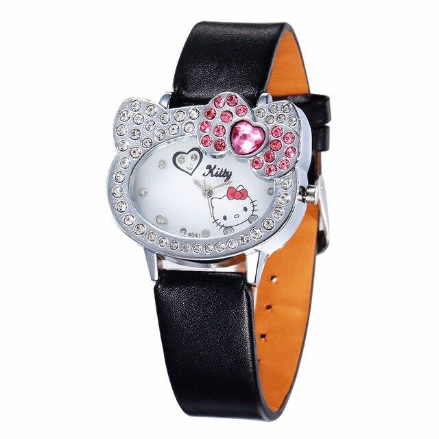 Hello Kitty Watches Women Watches Luxury Rhinestone Children Kids Watch Cartoon Watch Baby Leather Clock Saat Gift Montre Enfant