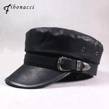 купить Fibonacci 2018 New Faux Leather Military Cap Autumn Winter Belt Buckle PU Flat Top Women Army Hat дешево
