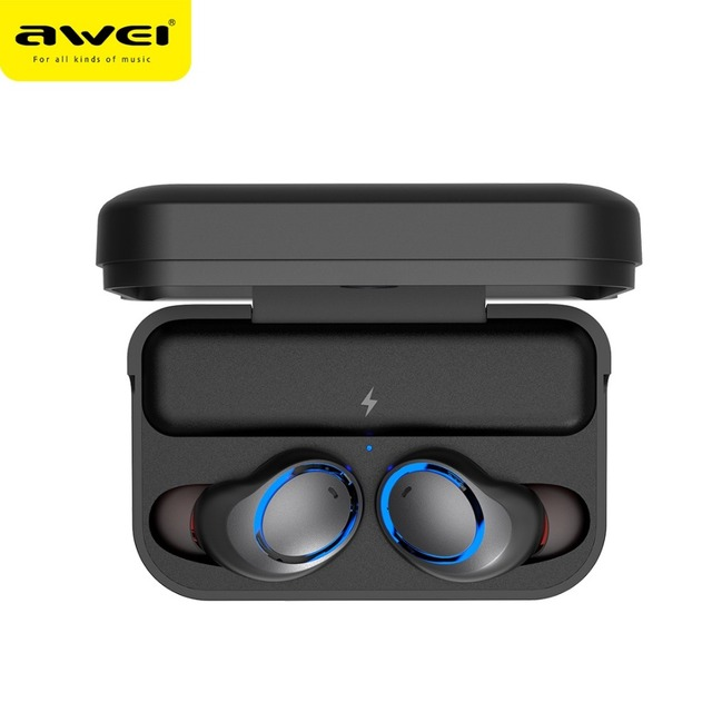 03a28a22b38 New Awei T3 TWS true wireless earbuds with charging case v5.0 bluetooth  earphones ipx4