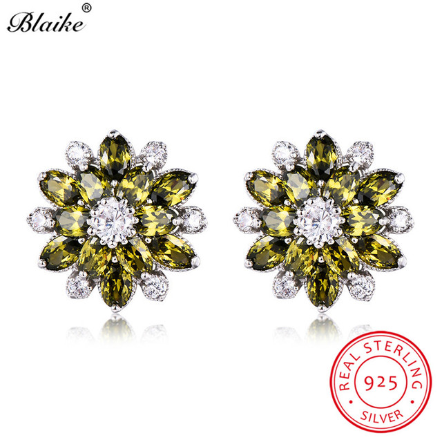 Blaike 100 Real S925 Sterling Silver Peridot Birthstone Snowflake Stud Earrings For Women Olive Green