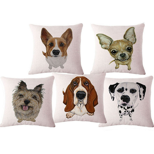 Cute Animal Post Home Chair Cushion Without Core Sofa Seat Back Coffee Dog Throw Decorative Pillow