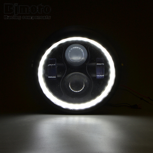 "Image 3 - 할리 Sportster 카페 레이서 Bobber 6.5 ""오토바이 LED 헤드 라이트 Hi & Lo 헤드 램프 전구 DRL 천사 반지"