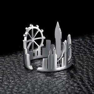 Image 3 - JewelryPalace Twin Towers Ringe 925 Sterling Silber Ringe für Frauen Öffnen Stapelbar Ring Band Silber 925 Schmuck Edlen Schmuck