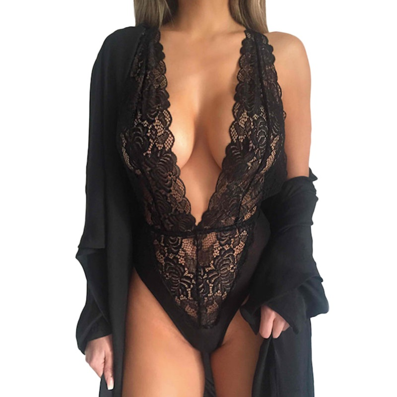 Sexy Lingerie Women Deep V Neck Nightwear Underwear Babydoll Black Lace Sleepwear Lace Dress Bodysuit