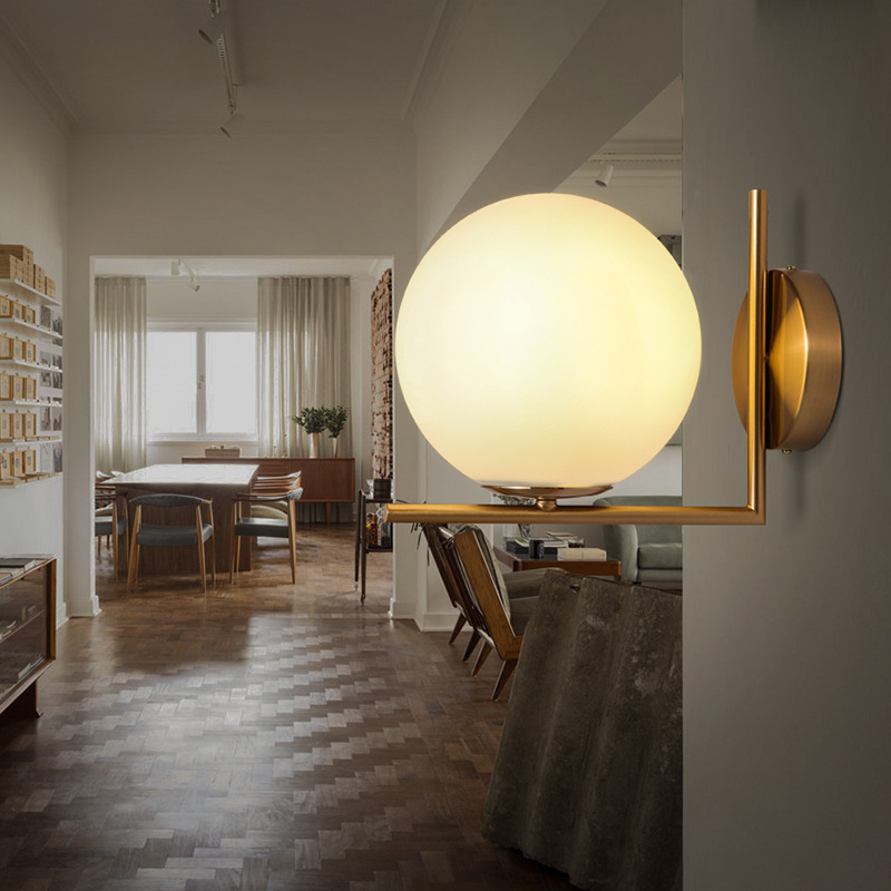 Modern Nordic Hotel Bedroom Glass Ball LED Gold Sconce Wall Lamp Lingting For Home Bedside Mirror Headlight LED Round Wall Lamp