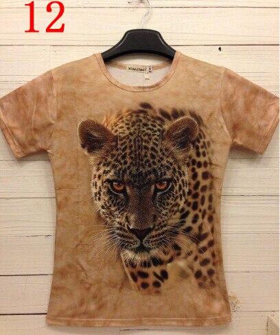 2016 летний стиль casual с коротким рукавом о шеи хлопок футболка мужчины 3d животных Гепард печатных мужская Одежда ty2686-12