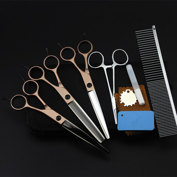 5 kit Professional Japan 7 inch gold pet dog grooming hair scissors set dog cutting shears thinning barber hairdressing scissors