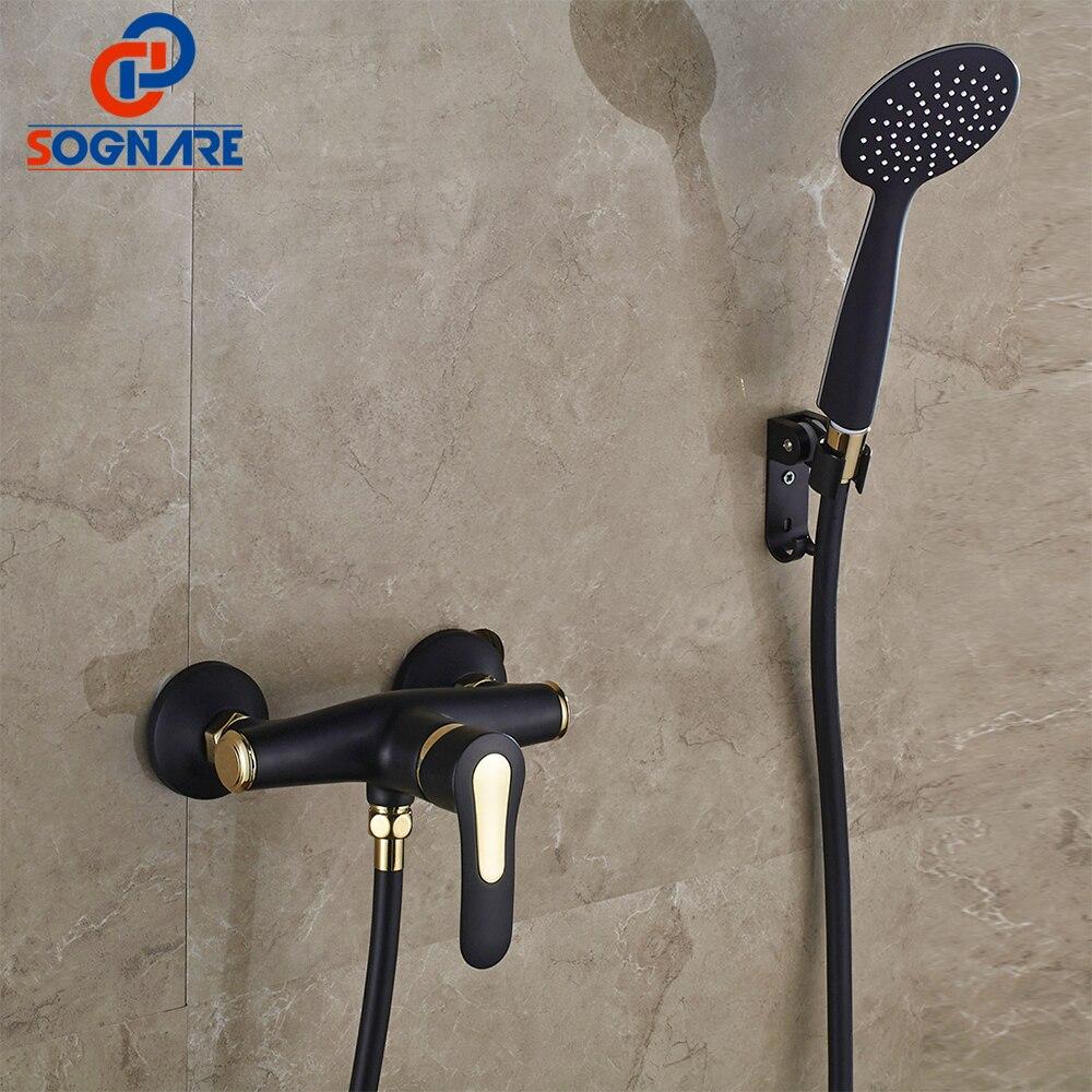SOGNARE accessoires de salle de bain robinets de douche Set noir avec robinets dorés-robinet de douche exposé robinet de baignoire mural robinets D5104