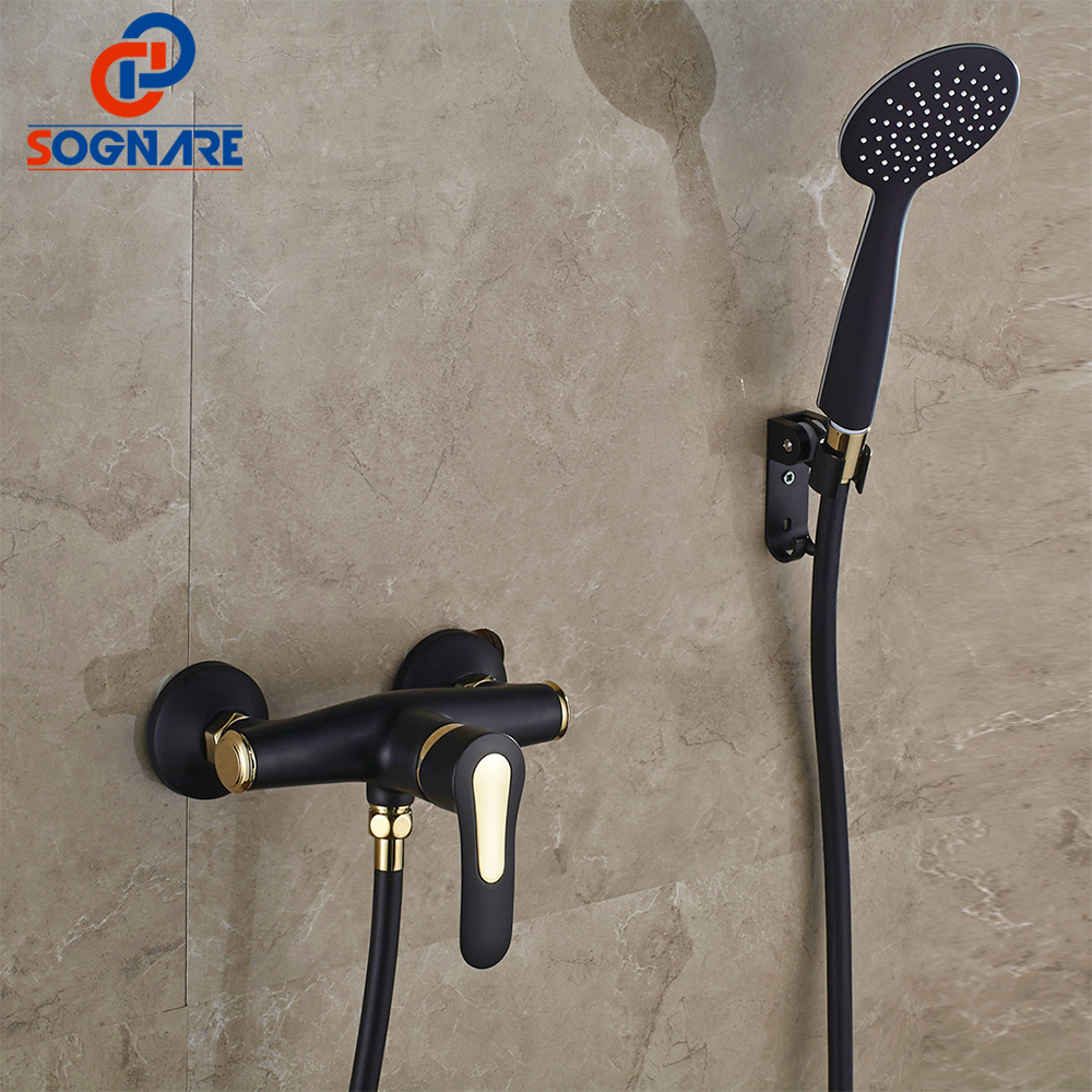 SOGNARE Bathroom Fixtures Shower Faucets Set Black With Golden Faucets exposed Shower Tap Wall Mounted Bathtub Faucet Taps D5104