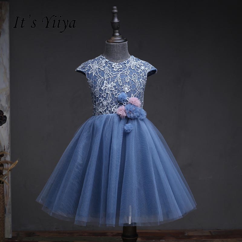 It's yiiya Lace Blue Zipper   Flower     Girl     Dresses   O-neck   Flowers     Girls   Kid Child Ball Gown   Dress   For Party Wedding   Girl     Dress   S156